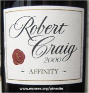 Robert Craig Affinity Napa Valley Cabernet Sauvignon 2000 label