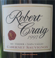 Robert Craig Nap Valley Mount Veeder Cabernet Sauvignon 1997 Label