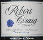 Robert Craig Howell Mountain Zinfandel 2006 label