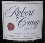 Robert Craig Mount Veeder Cabernet Sauvignon 2001 Label