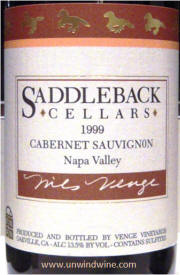 Saddleback Cellars Napa Valley Cabernet Sauvignon 1999