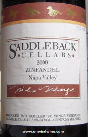Saddleback Cellars Napa Valley Zinfandel 2000