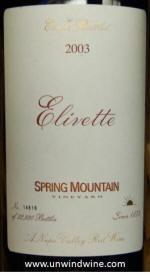 Spring Mountain Vineyard Elivette Red Wine 2003