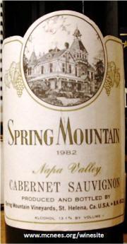 Spring Mountain Napa Valley Cabernet Sauvignon 1982