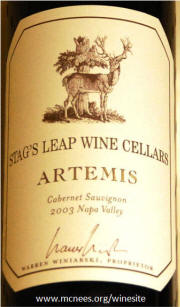 Stags Leap Cellars Artemis Napa Cabernet Sauvignon 2003 Label on Rick's WineSite