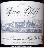 Vine Cliff Napa Valley Cabernet Sauvignon 1990 label