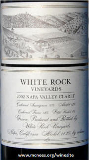 White Rock Vineyards Napa Valley Claret 2002 label