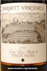 Barnet Vineyards Santa Lucia Highlands Pinot Noir 1999 label