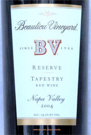 Beaulieu Vineyards Tapestry Reserve 2004 label