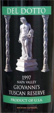 Del Dotto Giovanni's Tuscan Reserve Label 1997 on McNees Winesite