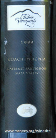 Fisher Vineyards Coach Insignia Napa Valley Cabernet Sauvignon 1999