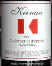 Keenan Spring Mountain Cabernet Sauvignon 2003 label on McNees.org/winesite