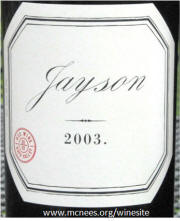 Pahlmeyer Jason Red Wine 2003 Label