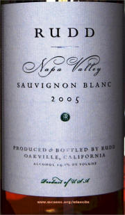 Rudd Sauvignon Blanc 2005 label