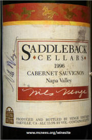 Nils Venge signed Saddleback Cellars Napa Oakville Cabernet Sauvignon 1996 label