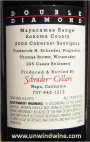 Schrader Double Diamond Mayacamas Range Estate Vineyard Cabernet Sauvignon 2003