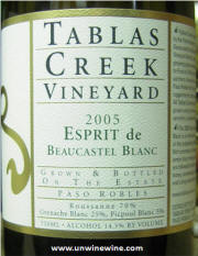Tablas Creek Vineyard Esprit de Beaucastel Blanc 2005 label