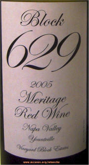 Vineyard Block Estates Block 629 Meritage 2005 label