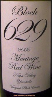 Vineyard Block Estates Block 629 Meritage 2005 label