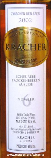 Kracher #6 Zwischen Den Seen Scheurebe TBA 2002
