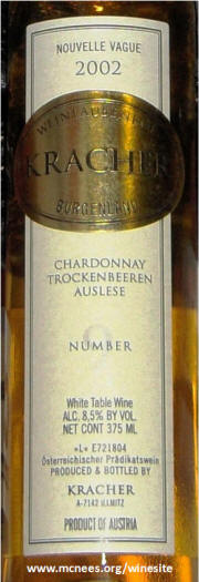 Kracher Nouvelle Vague Chardonnay TBA Auslese # 9 2002