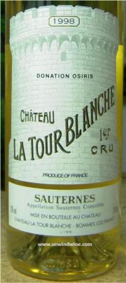 LaTour Blanche  1er Cru 1998 label