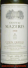 Chateau Mazeris Canon-Fronsac Bordeaux 1989 label