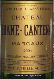 Chateau Brane Cantenac Marqaux 2004 label