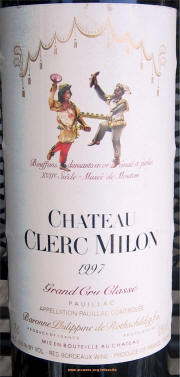 Chateau Clerc Milon 1997 Label on Rick's Winesite on McNees.org/winesite