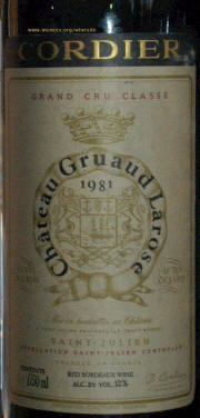 Chateau Gruaud Larose Label - 1981- Rick McNees Winesite Photo