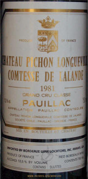 Chateau Pichon Lalande 1981 label - Rick McNees Winesite photo