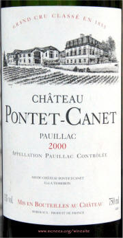 Chateau Pontet Canet 2000 label on McNees.org/winesite