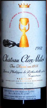 Chateau Clerc Milon 1982 label on McNees.org/winesite