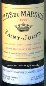 Chateau Clos du Marquis St Julien label 1999