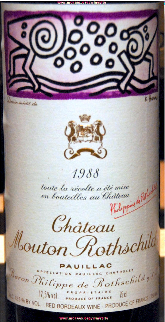 Mouton Rothschild 1988 Label and other artwork by Keith Haring