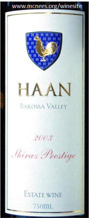 Haan Barossa Valley Shiraz Prestige 2003 label