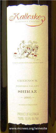 Kalleske Greenock Barossa Valley Shiraz 2005 label