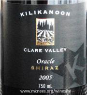 Kilikanoon Oracle Shiraz 2005 Label on McNees.org/winesite