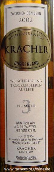 Kracher Welchreisling Trockenbereen Auslese 2002 Label