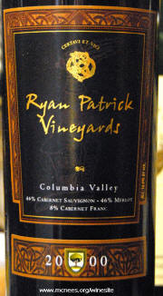 Patrick Ryan Vineyards Colmumbia Valley Red Wine 2000 label