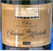 Chateau St Michelle Ethos 1994 label on McNees.org/winesite