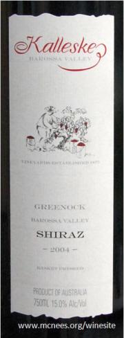 Kalleske Barossa Valley Greenock Shiraz 2004 Label