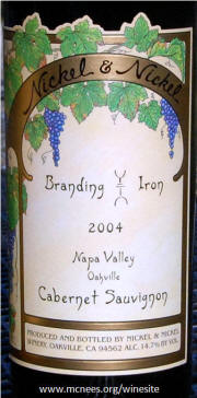 Nickel & Nickel Branding Iron Vineyard Napa Valley Cabernet Sauvignon 2004 Label