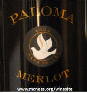 Paloma Spring Mountain Merlot 2003 label