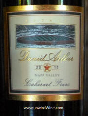 David Arthur Napa Valley Cabernet Franc 2010 - label