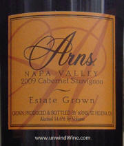 Arns Estate Grown Napa Cabernet Sauvignon 2009