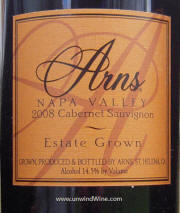 Arns Estate Grown Napa Valley Cabernet Sauvignon 2008 - lable